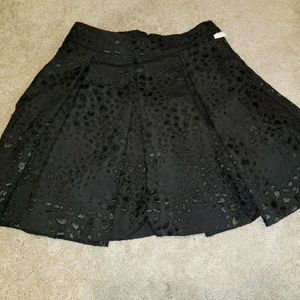Guess dressy black pleated lace skater skirt